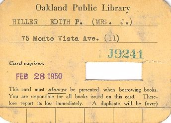 Oakland library card from 1950