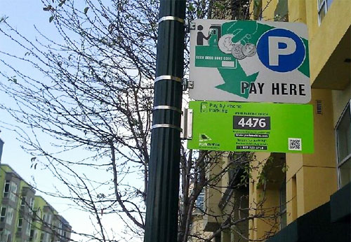 ParkMobile sign in downtown Oakland - photo by ParkMobile