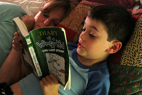 Reading Diary of a Wimpy Kid - photo by woodleywonderworks via Flickr