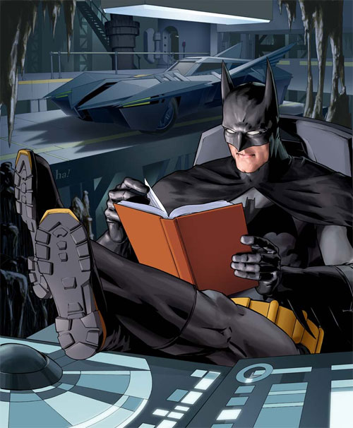 Batman relaxes with a book - from an Association of American Publishers poster