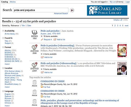 Encore Catalog at OPL website