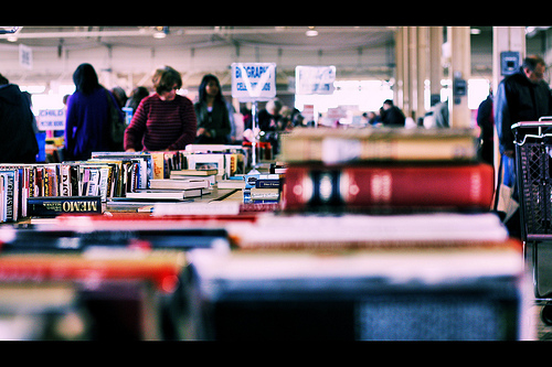 Book sale photo by Flickr user Phil Roeder