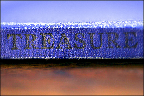 Treasure Island book spine photo by Jenni Douglas