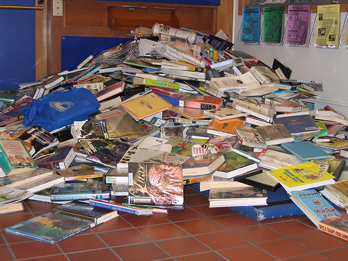Overflowing book returns at Monterey Public Library over Thanksgiving weekend