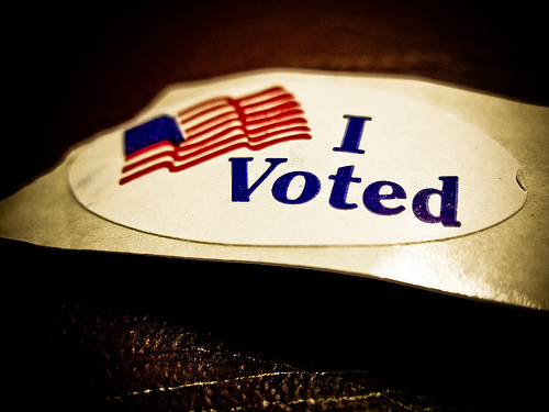 I Voted sticker - image by Vox Efx via Flickr
