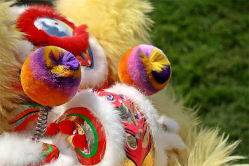 Close-up lion dancer.