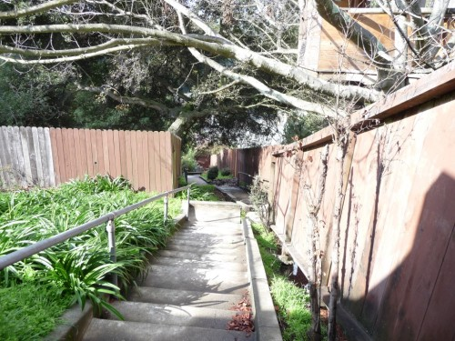 Stairs from Gaspar Road to the Village.  Photo by Deidre Joyner of The Oakland Berkeley Journal.
