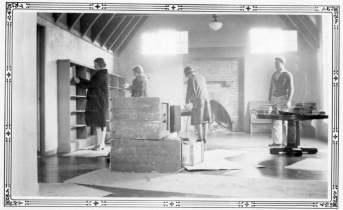 Shelving books at the new Montclair library, February 1930.
