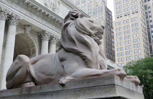 NYPL lion photo by Robert Hiscock via Flickr