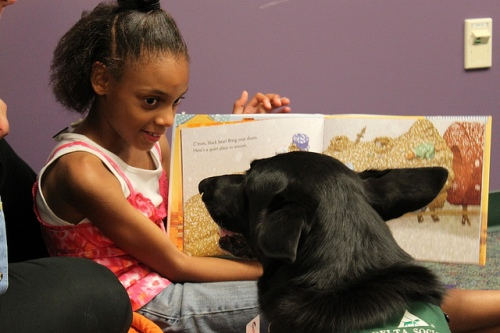 PAWS reading photo by Allen County (IN) Public Library via Flickr