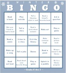 Winter Bingo card from Oakland Public Library