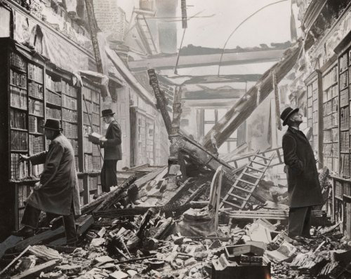 Holland House library damaged during the Blitz