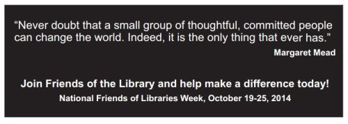 Friends of the Library Week book mark from ALA