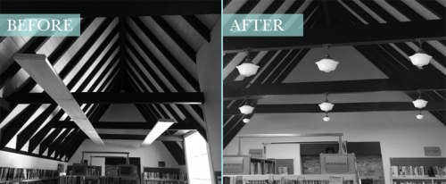 Montclair Library lighting before and after illustration