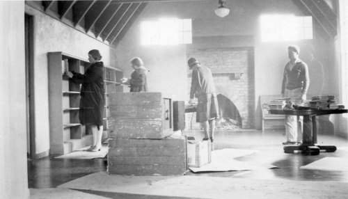 Unpacking books at the new Montclair Library, 1930