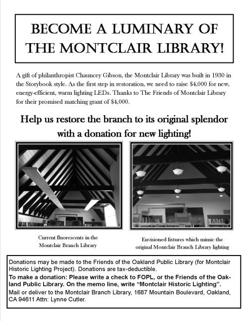 Flyer describing the lighting fundraising campaign at Montclair Library