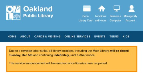 Libraries closed due to city-wide strike