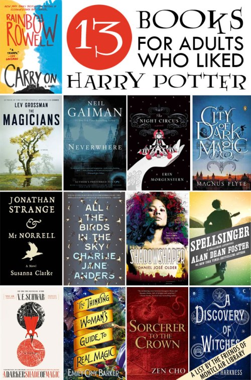 Books for Adults to Love Harry Potter, a list by the Friends of Montclair Library
