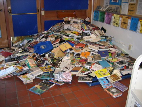Book return pile-up at Monterey Library
