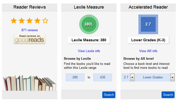 Screenshot of Lexile Measure and Accelerated Reader Level info in the OPL catalog